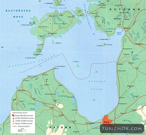 Рижский залив на карте